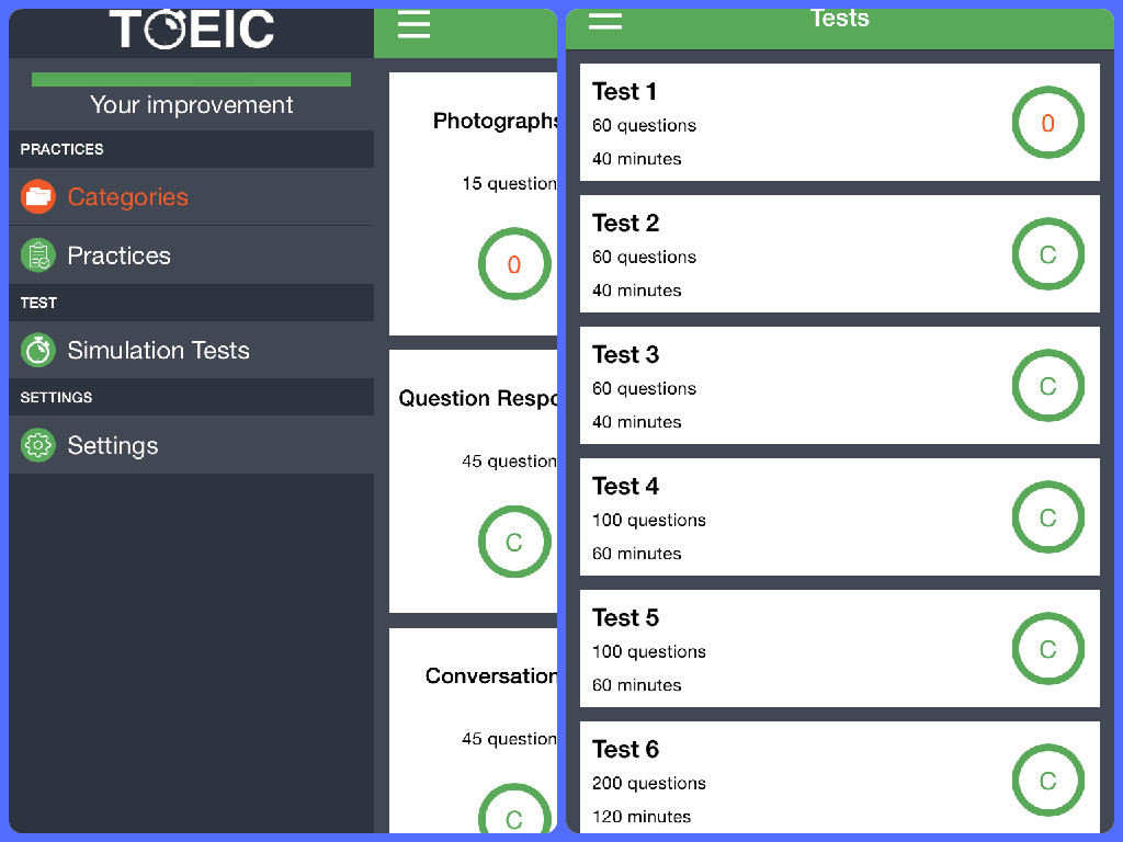 Application Toeic Test - Toeic Simulation Test